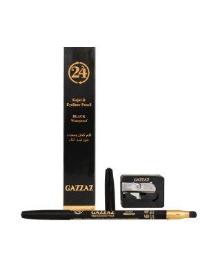 قلم كحل اسود محدد للعين مع البرايه ضد الماء من قزاز