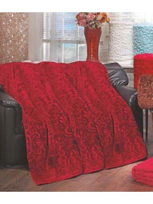 بطانية  مينك  صناعة تركية   مقاس 220*240 بلون  احمر  محفور