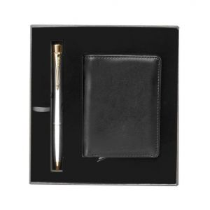 طقم باركر ايربان قلم حبر جاف + محفظة جلدية