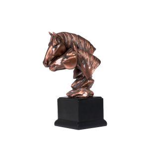 مجسم راس حصانين على قاعده  خشبيه  ارتفاع  24 سم