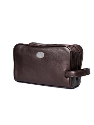 حقيبة يد شخصية  رجالي  باسم  الان موريس  100% جلد طبيعى  لون بنى